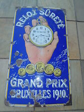 Antique Vintage Sûrete Grand Prix Watches Porcelain Sign 45 inches
