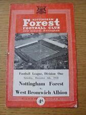 06/12/1958 Nottingham Forest v West Bromwich Albion  (Creased, Folded, Worn, Nic