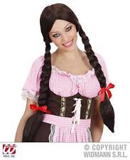 Señoras de largo Brown Peluca Con Trenzas Hansel Y Gretel De Disfraces De Halloween