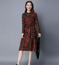 Autumn/Winter Elegant Womens Casual Long Sleeve Vintage Floral Cotton Midi Dress