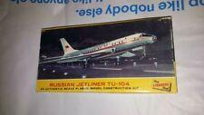 Vintage The Lindberg Line Model Plane w Box Russian Jetliner Tu-104 Kit #413-60