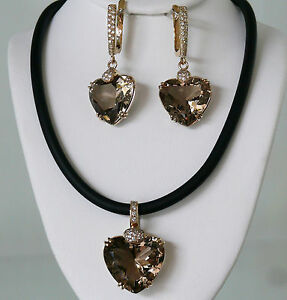 """""""BIG HEARTS"""" Earrings and Pendant Set, 9K Solid gold, Smoky Quartz and Diamond"""