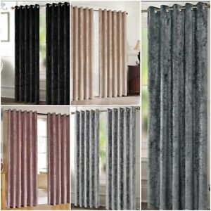 Luxury Crushed Velvet Curtains Fully Lined Eyelet Ring Top Ready Made Top Pair