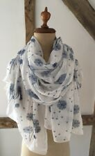 Scarf/wrap In White With Blue Dandelion Design.