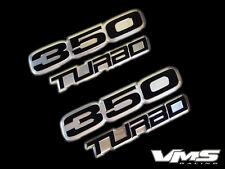 VMS 2 CHEVY TURBO 350 CI CUBIC INCH ENGINE ALUMINUM EMBLEMS BLACK CHROME SBC SET