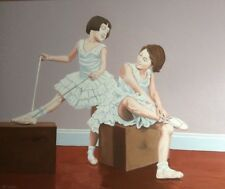 TWO YOUNG BALLERINAS OIL ON CANVAS BY J.M.WALLACE RSA EXHIBITED LOOK