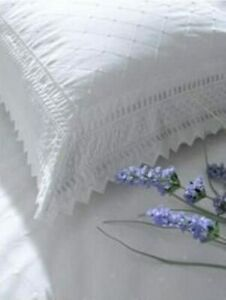 Balmoral White Embroidered Broderie Anglaise Percale Pillowcase Pair 180 Thread