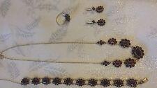 Vintage beautiful Garnet Set, Necklace, Bracelet, Earrings, Ring, gold & silver