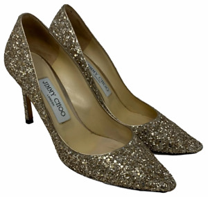 Authentic JIMMY CHOO Glitter Pumps Heels #36.5 US 6.5 Pointed Toe Gold
