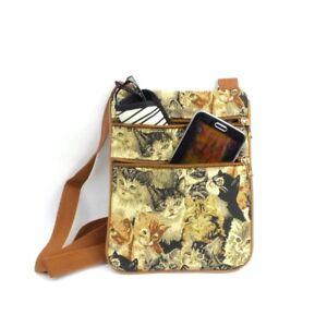 Kitty Cat Crossbody Purse Tapestry Fabric Small Passport Travel Shoulder Bag