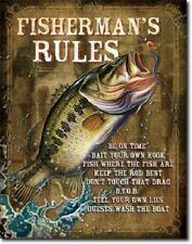 New Fishermans Rules Decorative Metal Tin Sign