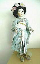 Porcelain Doll Artisan Geisha Handmade Kimono Jointed Glass Eyes Reproduction