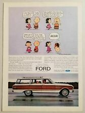 1963 Print Ad Ford Falcon Station Wagon Wood Trim Charlie Brown & Lucy