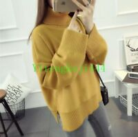 Korean Winter Fashion Women Loose Long Sleeve Turtleneck Sweater Knitwear Jumper