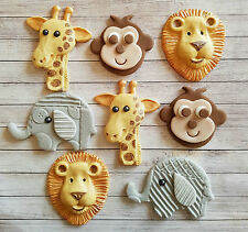 8 Jungle,Giraffe,elephant,monkey & lion edible cake/cupcake toppers ,Birthday