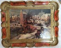"Italian Florentine Toleware Hand Made Wood Tray,  Red-Orange/Gold Gild 12""x14.5"""