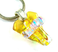 """Dichroic Glass PENDANT HEART & Cross Golden Amber Yellow Teal Peach 1/2"""" 12mm"""