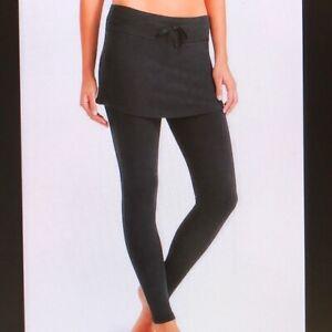 Athleta SP Organic Cotton 2 in 1 Exhale Skirted Tight Leggings BLACK  EUC