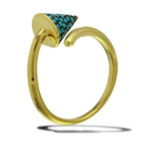 Sterling Silver Yellow Gold Plated Cone Ladies Ring w/ Turquoise Stones