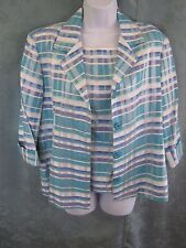 VTG First Option Twin Set Blazer & Sleeveless Top Size Medium Plaid USA Made