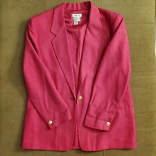 Women's TALBOTS Hot Pink Lined Blazer Career/Casual Size 14 One Button