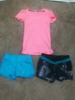 LOT OF 3 WOMENS Reebok and Lucy SHORTS and Under Armour Shirt SIZE X-SMALL XS