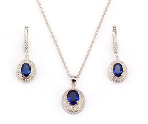 1920s Stil 925 Sterlingsilber Set Künstlicher Saphiren Brillant Weiß Diamanten