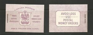 Canada 1953 QEII Booklet With 8 3c Stamps Unmounted Mint SG 452