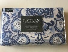RALPH LAUREN Medallion Vibrant Blue 3P Full/ Queen Duvet Shams Set COTTON