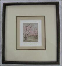 1982 Jeff Siner Fresno California 21/35 Aquatint Etching Peach Blossoms Orchard