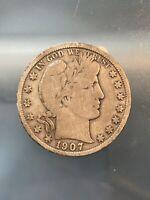 1907-S San Francisco Mint Silver Barber Half Dollar, 1/19/20, Free Shipping