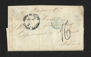 BRAZIL TO FRANCE TAXED COVER SCARCE BLUE PMK RARE CITY 1861 PACARIHY