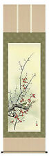japanese hanging scroll  Title :Red and white plum and bush warbler(Small size)