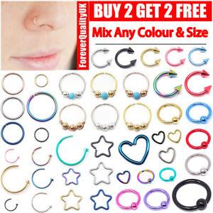 Nose Ring Lip Hoop Cartilage Tragus Helix Ear Piercing Surgical Steel Rings