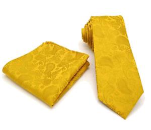 Men's Mustard Gold Yellow Paisley Tie & Hanky Handkerchief Pocket Square Set