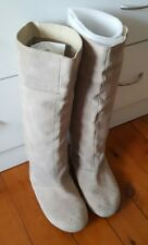 SPORTSGIRL Suede Leather Calf Knee High Boots Size 7 Beige Brown Pull On    1