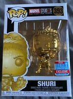 Funko Pop Marvel Black Panther Shuri #393 GOLD CHROME 2018 Fall Con + protector