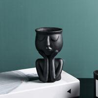 JW_  Thinking Face Ceramic Home Plants Flower Pot Vase Planter Tabletop Decora
