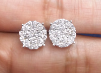 Deal 14K Gold 1.60CT Round Genuine Diamond Cluster Flower Halo Studs Earring 9MM