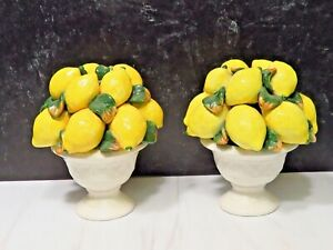 Pair of Vtg  Trompe l'oeil Pedestal Basket of Lemons Candlesticks Italy Ceramic