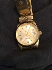 Mens Croton Automatic 6 real diamonds date president gold plated dress watch