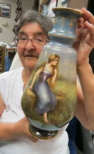 "RARE 14"" huge Royal Bonn Vase / URN / painting pretty farm girl /view all around"