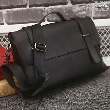 Black Briefcase Man's Business Shoulder Bag Leather Messenger Handbag Satchel