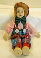 """Clown  Doll in Plaid 9""""  tall Hand Painted Porcelain face hands & feet With Hat"""