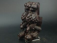 More details for pair carved mahogany legs with lion fruit and bird motif