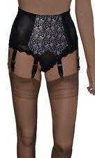Retro/Vintage Style 6 Strap Suspender Belt Side Fastening Black/White Size S-XXL