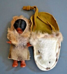 Vintage Eskimo Girl Doll  Leather and Fur Pouch, Unique