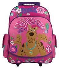 """Scooby Doo Peace & Love Large 15"""" Canvas Pink Rolling Backpack"""