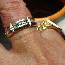 Mens 10k White Gold .25 Carat Artistry Round Blue Diamonds