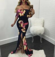 Sexy Women Off Shoulder Ruffled Bodycon Cocktail Party High Slit Maxi Dress